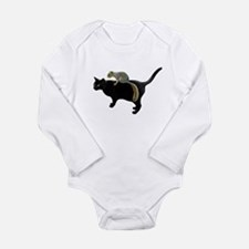 Squirrel on Cat Long Sleeve Infant Bodysuit