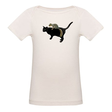 Squirrel on Cat Organic Baby T-Shirt