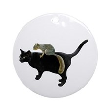 Squirrel on Cat Ornament (Round)