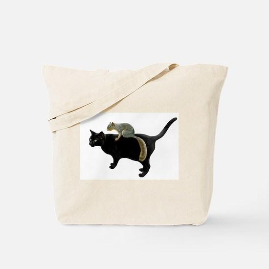 Squirrel on Cat Tote Bag