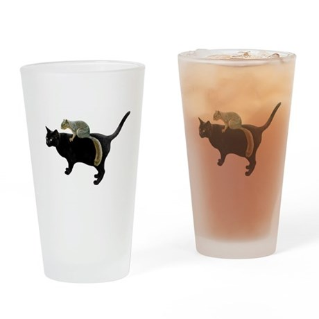 Squirrel on Cat Pint Glass