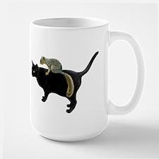 Squirrel on Cat Large Mug