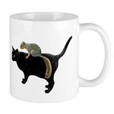 Squirrel on Cat Small Mug