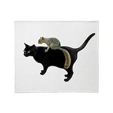 Squirrel on Cat Throw Blanket
