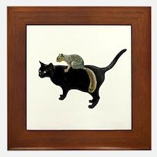 Squirrel on Cat Framed Tile