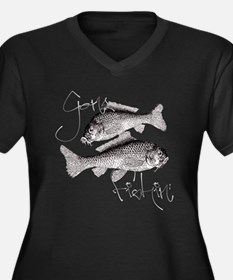 Gone Fishin' Women's Plus Size V-Neck Dark T-Shirt