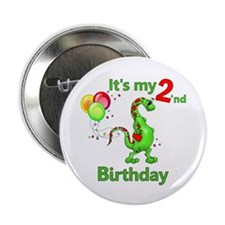 "Second Birthday Dino 2.25"" Button"