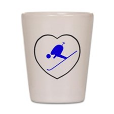 skierwhiteheart Shot Glass