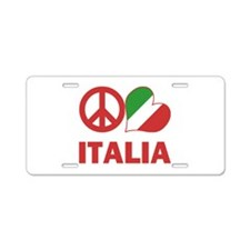 Peace Love Italy Aluminum License Plate