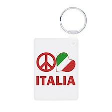 Peace Love Italy Aluminum Photo Keychain