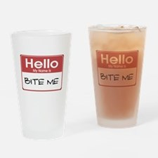 Hello My Name Is Bite Me Pint Glass