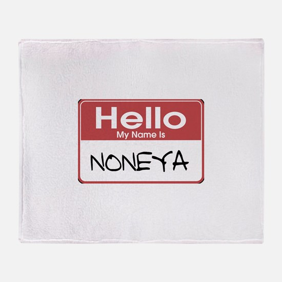 Noneya Name Tag Throw Blanket