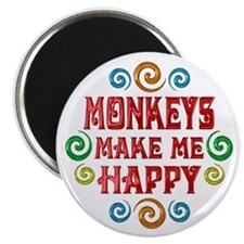 """Monkey Happiness 2.25"""" Magnet (100 pack)"""