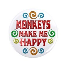 """Monkey Happiness 3.5"""" Button"""