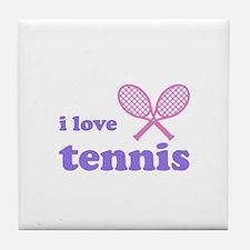 i love tennis (pink/lilac) Tile Coaster