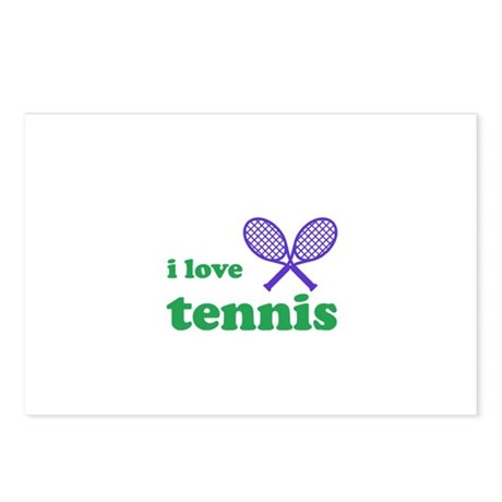 i love tennis (purple/green) Postcards (Package of