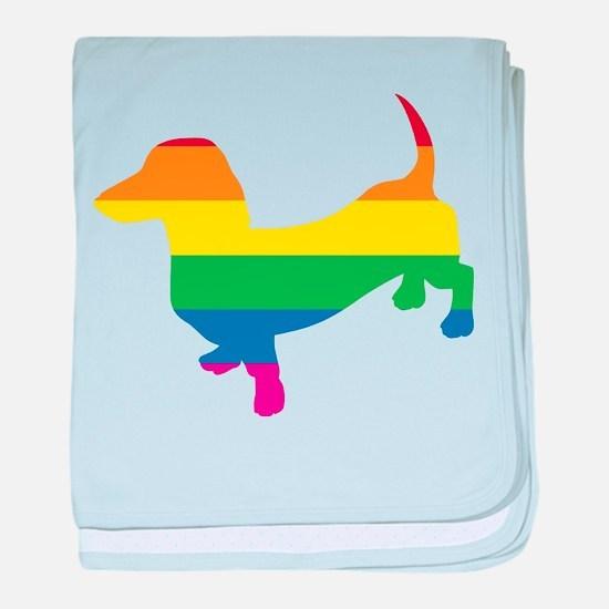 Gay Pride Dachshund baby blanket