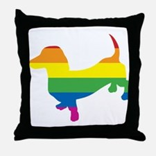 Gay Pride Dachshund Throw Pillow