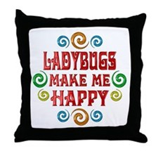 Ladybug Happiness Throw Pillow