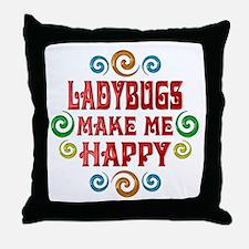 Ladybug Happiness Throw Pillow