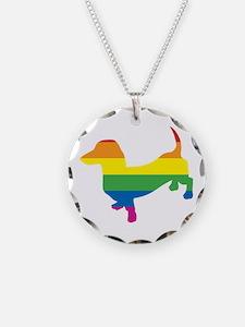 Gay Pride Dachshund Necklace