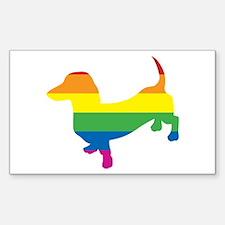 Gay Pride Dachshund Sticker (Rectangle)
