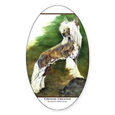 Chinese Crested Painting Oval Decal