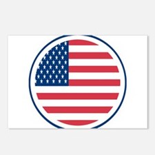 Round American Flag Postcards (Package of 8)