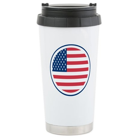 Round American Flag Stainless Steel Travel Mug