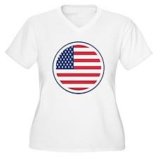 Round American Flag Women's Plus Size V-Neck T-Shi