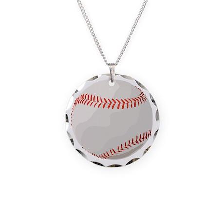 Baseball Symbol Necklace Circle Charm