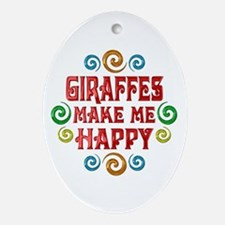 Giraffe Happiness Ornament (Oval)