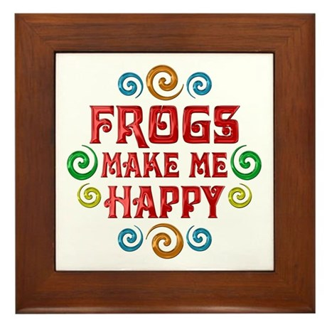 Frog Happiness Framed Tile