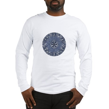 Sacred Geometry in Blue Long Sleeve T-Shirt