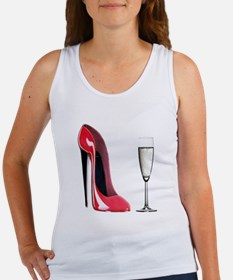 Champagne and Red Stiletto Women's Tank Top