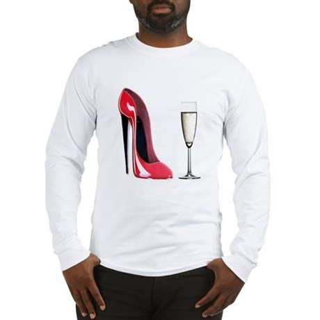 Champagne and Red Stiletto Long Sleeve T-Shirt