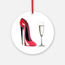 Champagne and Red Stiletto Ornament (Round)