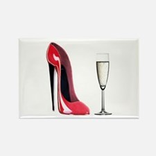 Champagne and Red Stiletto Rectangle Magnet