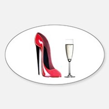 Champagne and Red Stiletto Decal