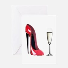 Champagne and Red Stiletto Greeting Card