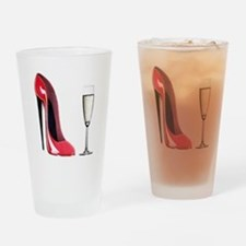 Champagne and Red Stiletto Pint Glass