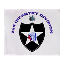 US Army 2nd Infantry Division Throw Blanket