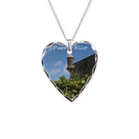 Puerto Rico Necklace Heart Charm
