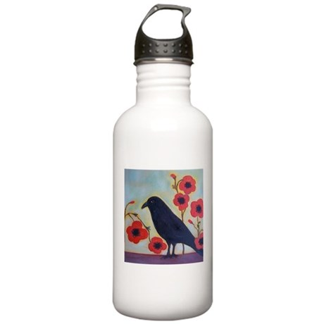Crow and Poppies Stainless Water Bottle 1.0L