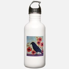 Crow and Poppies Water Bottle
