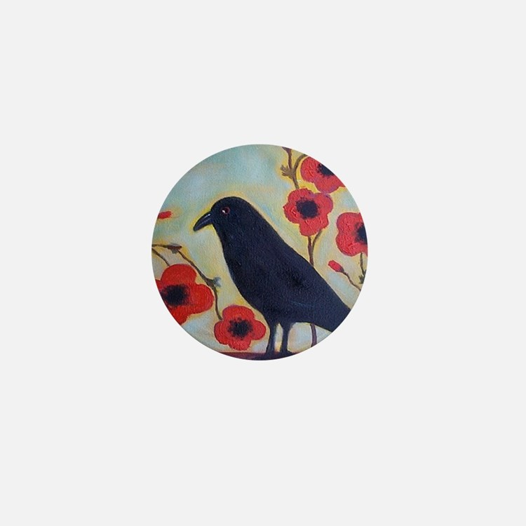 Crow and Poppies Mini Button