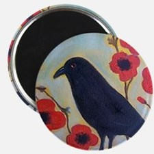 Crow and Poppies Magnet