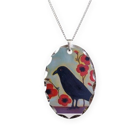 Crow and Poppies Necklace Oval Charm