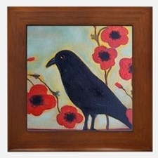 Crow and Poppies Framed Tile