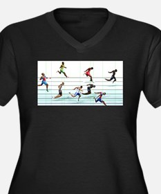 Unique Running in the usa race results clubs Women's Plus Size V-Neck Dark T-Shirt